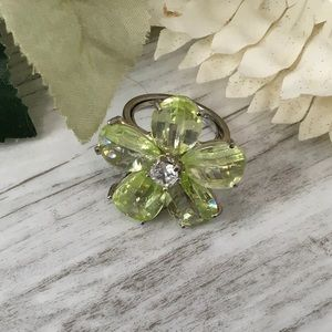 Yellow Flower Ring Crystal Glass Petals 5.75 N R